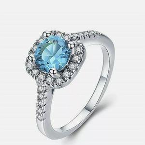 Silver Rhinestone & Blue Sky Zircon Ring size 6